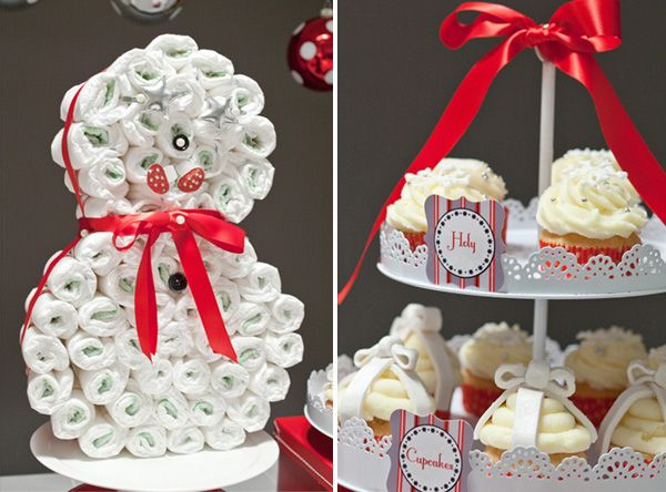 "Christmas theme baby shower cakes white and red.  With this winter storm we are having today, this might be the ""diaper cake"" design for Saturday, lol!"