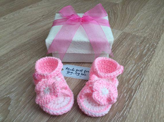 Gehaakte Baby meisje Candy katoen sandalen  Baby door StefaniaDA2015