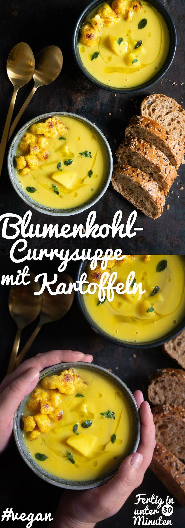 Rezept für eine vegane Blumenkohl-Currysuppe mit Kartoffeln. – tellerabgeleckt.de