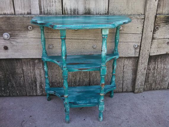 small distressed accent table 2