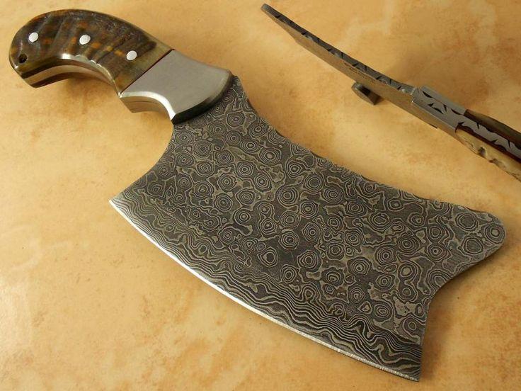 custom made cleaver | Olga Custom Damascus Steel Full Tang Cleaver Kitchen Chef Knife HO ...