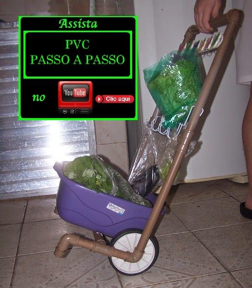 PVC PASSO A PASSO: Carrinho de feira de tubos de PVC