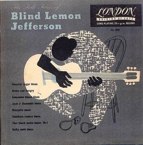 The Folk Blues of Blind Lemon Jefferson. music. blues. album covers. records