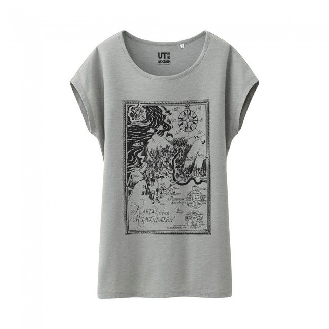 Uniqlo x Moomin French Sleeve T-Shirt - Compass (Gray)