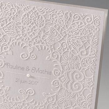 Faire-part Mariage Traditionnels - Dentelle et Romantisme - 0