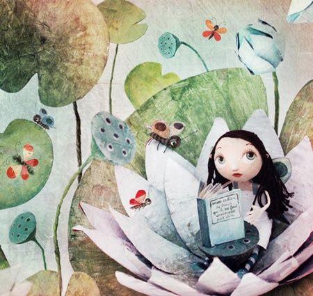 Small and naturalist reader / Pequeña y naturalista lectora (ilustración de Chloé Rémiat)