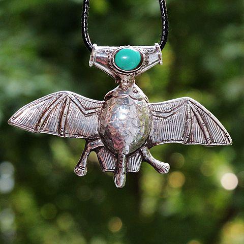 Серебряная подвеска с бирюзой Летучая мышь