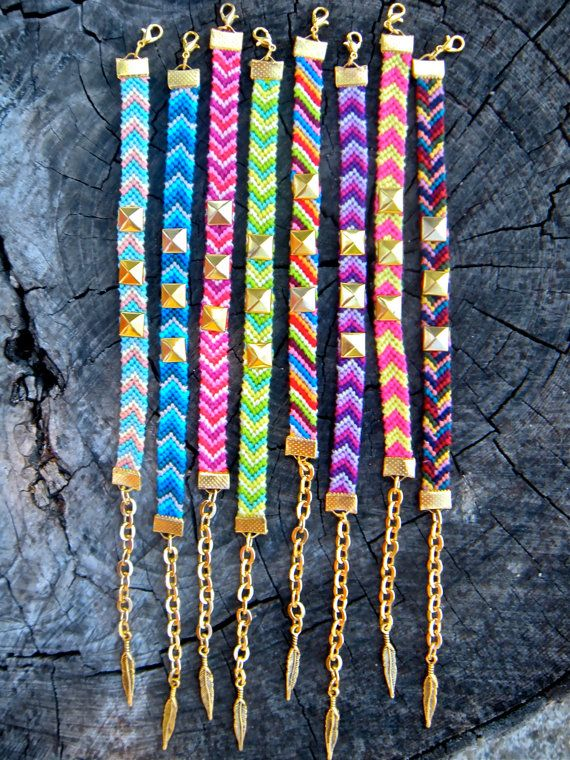 Chevron Gold Studded Friendship Bracelets Hipster Layering Arm Candy Embroidery Thread Diy Pinterest Studs