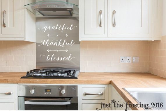Grateful Thankful Blessed Decal  Kitchen Wall Decor