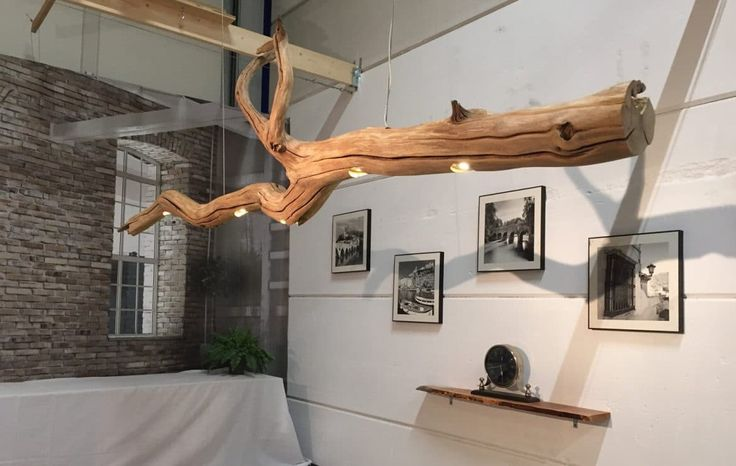 Cool Old Oak Tree LED Ceiling Lamp #beam #Farmhouse #Handmade #Huge #LED #LightFixture #Recycled #Rustic #simple #Tree #Wood Ceiling lamp with five LED spotlights mounted on a weathered old oak tree. This special old tree with beautiful weathered wood gives your home environ...