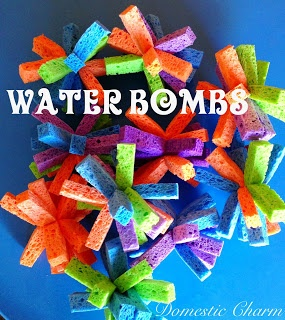 Water bombs. → Materials: sponges, small elastic hair ties, and scissors.