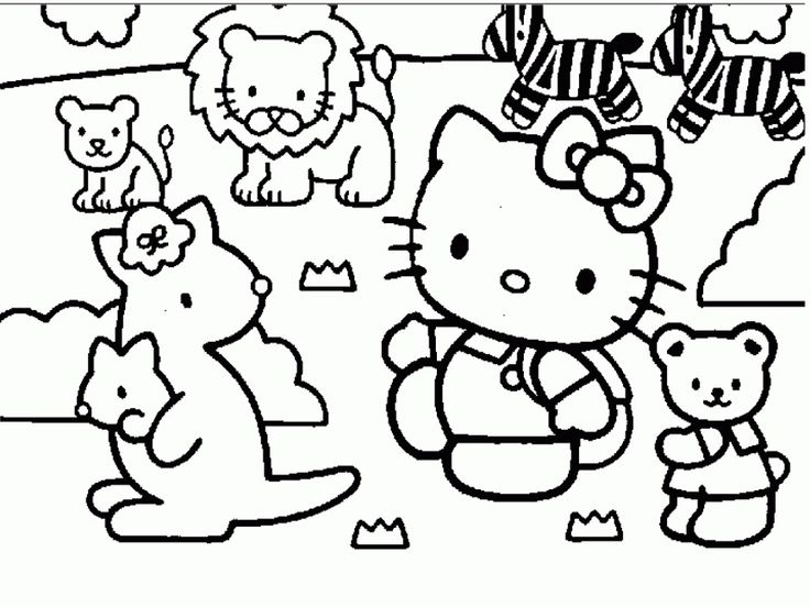 Cartoon Hello Kity Preschool S Zoo Coloring Pages Printable And Book To Print For Free Find More Online Kids Adults Of