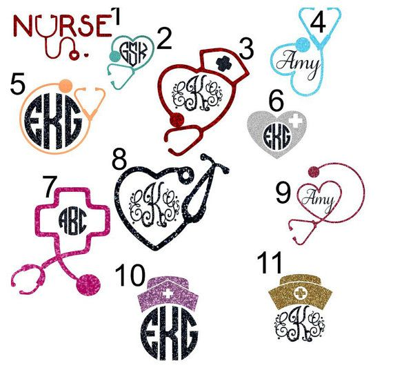 Custom Nurse Glitter Monogram Car Decal by AbbysClosetTX on Etsy