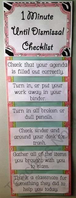 A visual reminder for students and the teacher (especially a substitute) of tasks to be completed at the end of the day before dismissal! Help students build routine by posting this chart as a reminder of your expectations for them at the end of the day before their dismissal. Kids will love the reminder and it helps an often overwhelmed teacher!