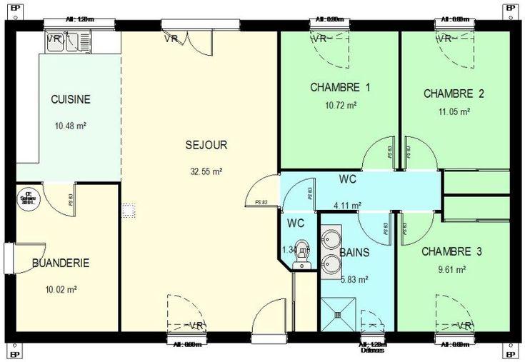 constantin muamba (constantinmuamba) on Pinterest - Plan De Maison De 100m2 Plein Pied