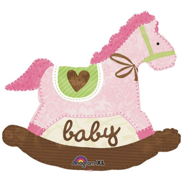 BABY+SHOWER+NEW+BABY+GIRL+DECORATION+29++GIANT+FOIL+BALLOON+PINK+ROCKING+HORSE+