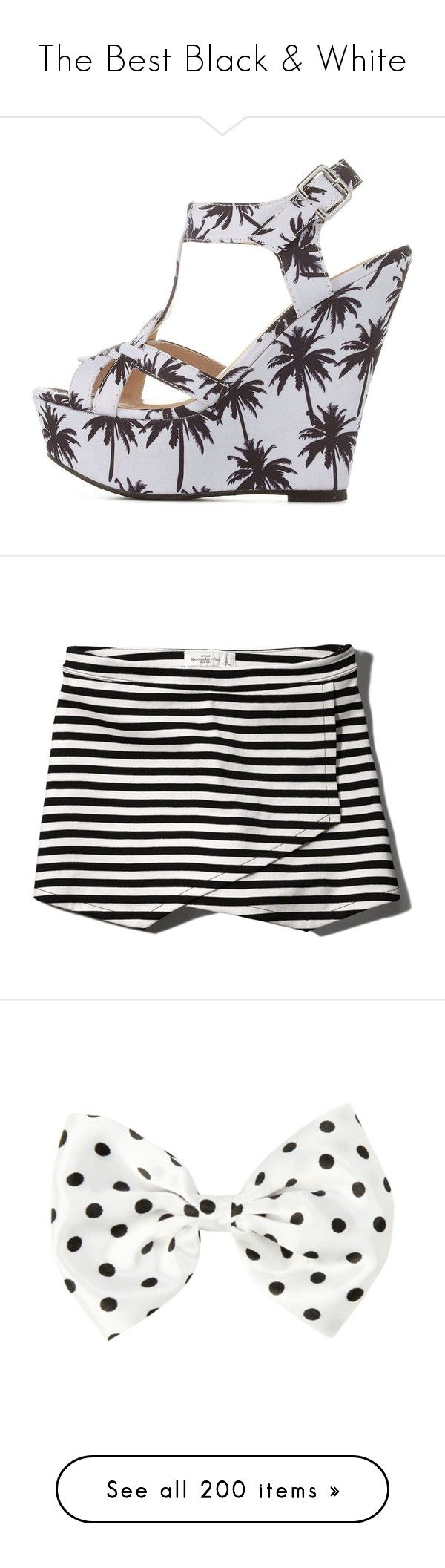 """""""The Best Black & White"""" by nillabinx ❤ liked on Polyvore featuring shoes, sandals, heels, wedges, t-strap sandals, t strap wedge sandals, strap heel sandals, platform wedge sandals, strappy sandals and skirts"""