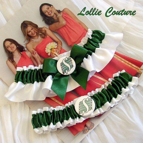 Saskatchewan Roughriders Wedding garter set by lolliecouture, $50.00