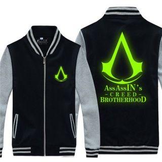 Luminous Assassin's Creed sweatshirt for youth plus size style baseball jacket