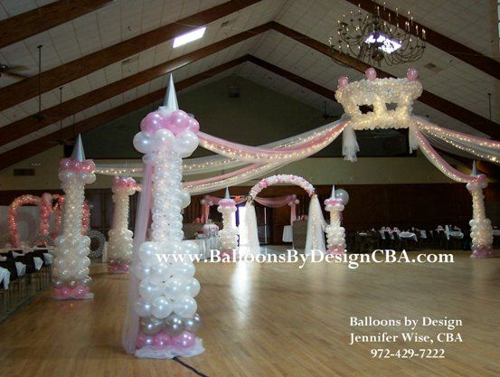 Photo gallery of quinceanera decorations princess crown for Balloon decoration ideas for quinceaneras