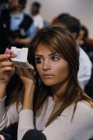 Model Helena Christensen at a fashion show, ca. 1993-1994. @thecoveteur