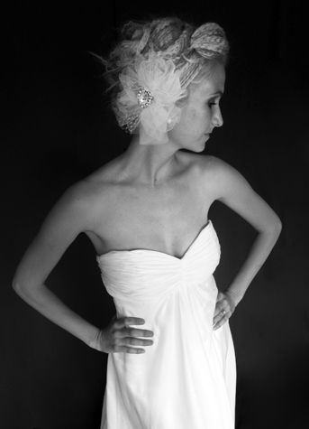 Veil Trends A510 - Tulle Hair Piece & Swarvoski Broach   Available at Sash & Bustle Toronto info@sashandbustle.com