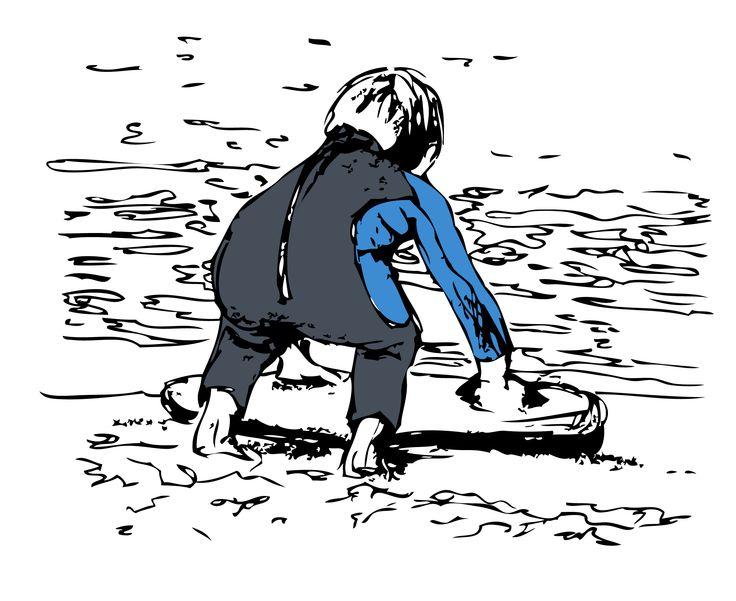Graphic Illustration Little Boy Bodyboarding
