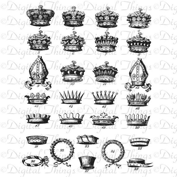 Vintage Crowns French English German King Prince