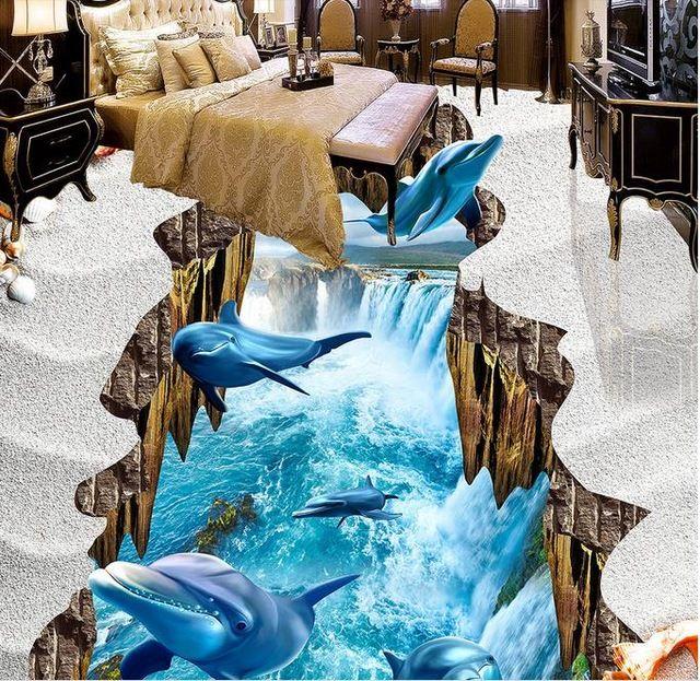 Custom 3d Floor Painting Dolphin Falls Pvc Vinyl Flooring Wall Murals For Living Room 3d Floor Tiles 3d Stereoscopic Wallpaper 3d Floor Painting Painted Floors 3d Floor Art