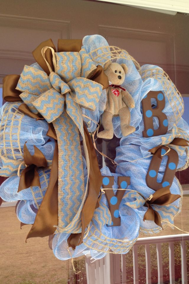 Baby Boy wreath, blue and brown