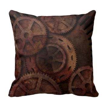 Rusty Steampunk Gears Cushion for your steampunk themed interior. Steampunk Fashion, Steampunk Style. More steampunk and cats and crows and dark and scary goings on at Strange Store from Paul Stickland #steampunk #gothic #gears #gearwheels #cogs #rust #grunge #urban #paul #stickland #mechanical #strange #store #machinery #inventor #victorian #vintage #antique #machines #steampunk #gears #strangestore #google #plus #steampunk #style #steampunk #themed #steampunk #interior #design #steampunk…