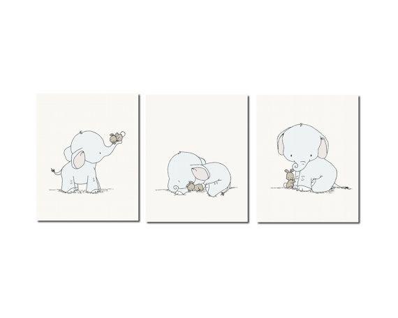 Elefante vivero arteElefantes y por SweetMelodyDesigns en Etsy