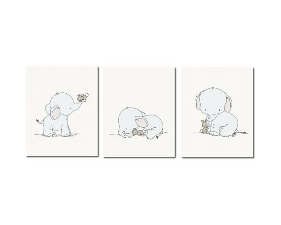 Elephant Nursery Art, Nursery Decor, Set of 3 Prints, Elephant and Bunny Nursery Art, Kids Wall Art on Etsy, $45.00