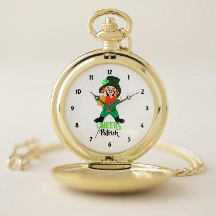 Irish Leprechaun Funny Graphic Personalized Pocket Watch - diy cyo customize create your own personalize