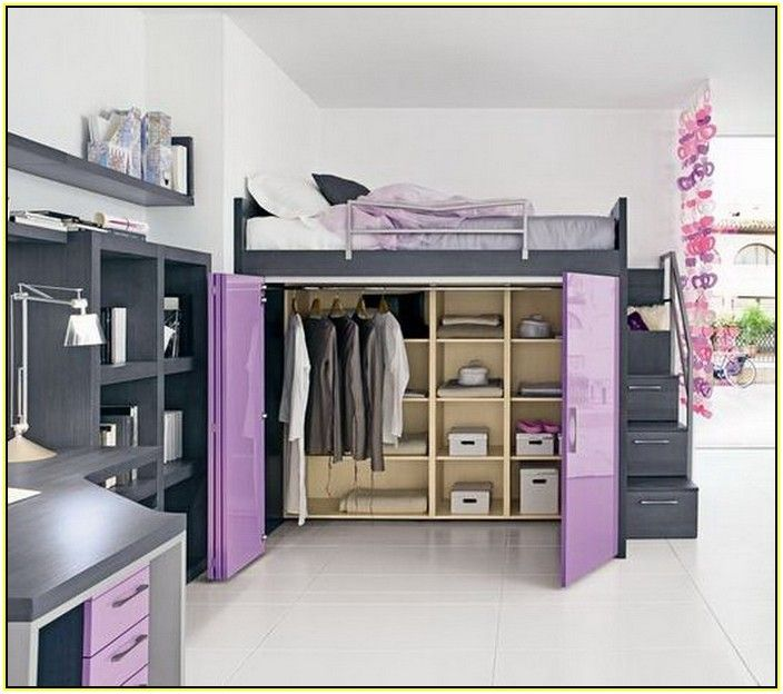 Loft bed with closet small student room ideas for Bunk beds in closet space