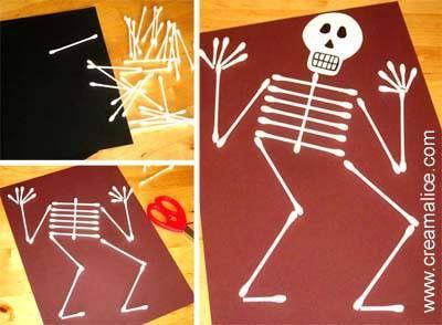 ☠ ✄ Bricolage Carte Squelette d'Halloween en Cotons Tiges ✄ ☠ - La récup dans tous ses états