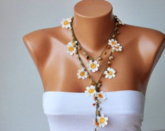 Items similar to DAISY Necklace - White Daisy Crochet oya lace with white beads on Etsy