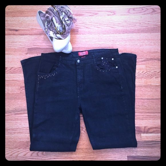"Cos Jeans with Pocket Detailing Dark blue/black wash straight leg Cos Jeans. Embellished on the pockets. Gently worn. 32"" inseam. Super comfy - can be dressed up with heels, or down with a t-shirt and sneakers. From a smoke free and pet free home. Cos Jeans Jeans Straight Leg"