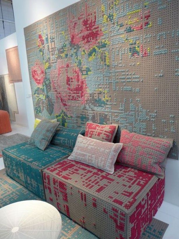 Kruissteek mural by GANDIA Biasco, cross stitch on wool fabric (perforated) base