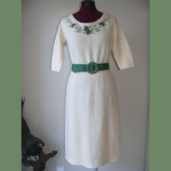 """Vintage 50s Wool Chenille Floral Appliqué Dress This is a darling Ivory wool Knit dress with flower and grapes appliques on the bust line from Peck & Peck from the 1940s.. It is in excellent to near mint condition. No stains. There is one tiny moth chomp on the waist seam in the back that is hidden by the belt.. It is all wool with original belt. has some stretch to it, measurements are done laying flat and unstretched and measurements are 40"""" in the bust 30"""" around the waist 42"""" in the hips…"""