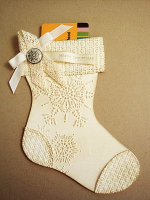 "penguinstamper: Holiday Stocking Die Gift-Card Holder Recipe: Paper: Very Vanilla - 8-1/2 X 5-1/2 (you'll need two of these for the front and back of the stocking); Very Vanilla - 3-1/2 X 1/2"" Stamps: Teeny Tiny Wishes Inks: Crumb Cake (brayer the front side of your embossing folder to make the embossing stand out in white); Soft Suede Miscellaneous: Big Shot Machine; Holiday Stocking Die;"