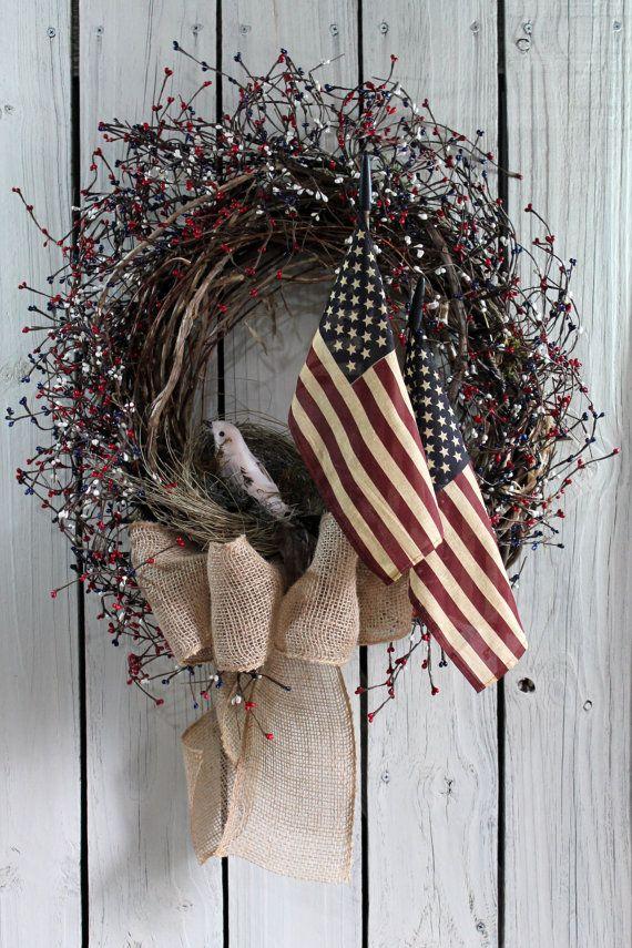 Patriotic Door Wreath, Primitive Wreath, Americana Wreath, Memorial Day, Fourth of July, American Flag Wreath, Summer Wreath, Free Shipping