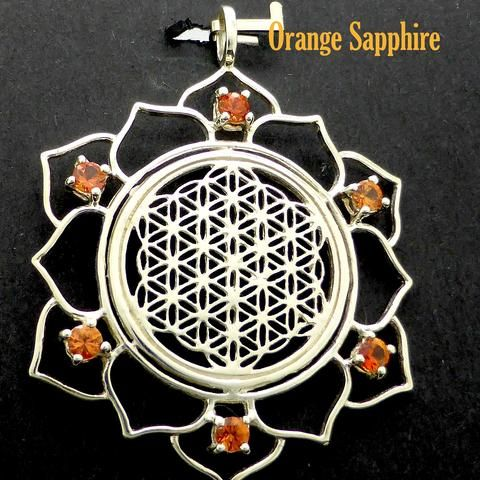 Flower of Life in Lotus Pendant | 925 Sterling Silver | 6 Sapphire or Tsavorite Gemstones | Harmonise with the Universe | Crystal Heart Australia since 1986