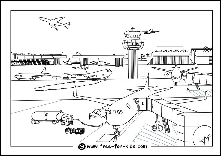 Airport Colouring Page Thumbnail Image