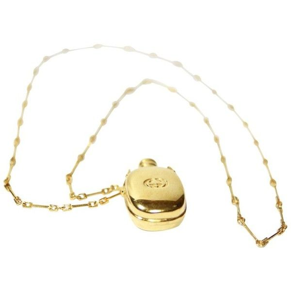 Preowned Very Rare And Vintage Gucci Flacon À Parfum / Necklace To... (79.505 HUF) ❤ liked on Polyvore featuring jewelry, necklaces, beige, pendant necklaces, long necklace, gucci necklace, vintage jewellery, vintage necklace and long pendant necklace