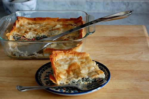 Spinach and Red Pepper Phyllo Pie