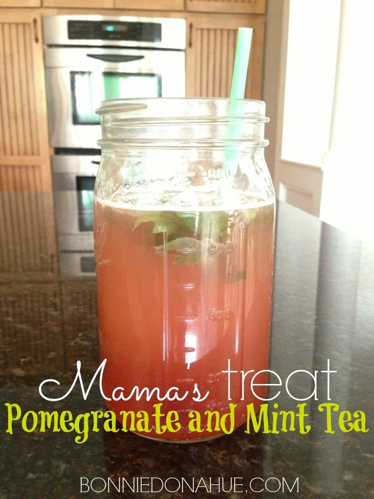 Pomegranate and Mint Tea  1 quart of purified water   1 stick of Shaklee 180 Pomegranate Tea  (LOVE. LOVE. LOVE.- I take this daily!!!!)  1 packet or a small sprinkle of stevia (I buy the Trader Joe's brand)  Fresh mint leaves (to taste)  Ice (optional)  Stir with a straw and enjoy!!