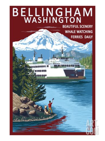 Bellingham, Washington - Ferry Scene Print by Lantern Press at Art.com