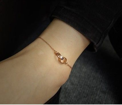 Titanium 316 L Screw Double Ring Anklet for women 2014, 18k rose gold filled High-quality Classic Foot Jewerly
