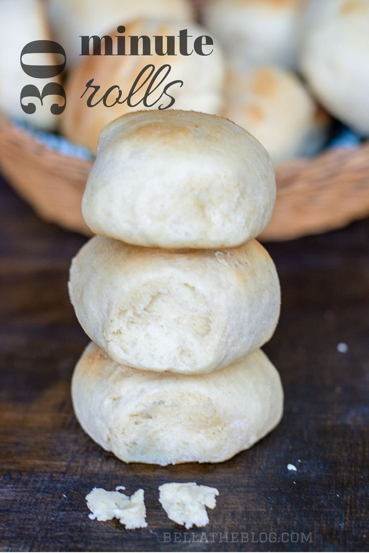 QUICK AND EASY 30 minute rolls -- they're yeast rolls that take 30 minutes start to finish ... they work just as well for quick dinners as they do for formal get-togethers - perfect recipe for the holidays